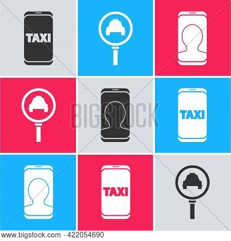 Set Taxi Call Telephone Service, Magnifying Glass And Taxi Car And Taxi Call Telephone Service Icon.