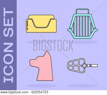 Set Dog Muzzle, Pet Bed, Cat And Pet Carry Case Icon. Vector