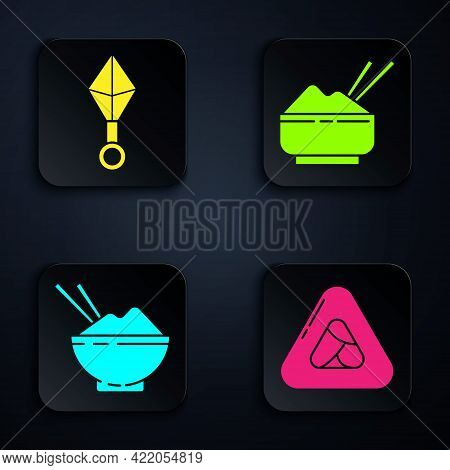 Set Sushi, Japanese Ninja Shuriken, Rice In A Bowl With Chopstick And Rice In A Bowl With Chopstick.