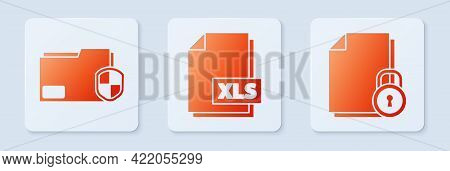 Set Xls File Document, Document Folder Protection And Document And Lock. White Square Button. Vector