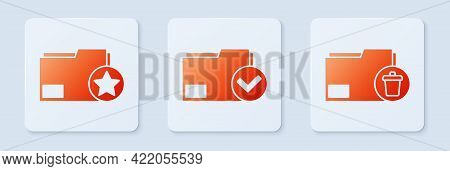 Set Document Folder And Check Mark, Document Folder With Star And Delete Folder. White Square Button