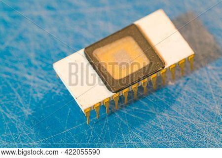 Samples of semiconductor microcircuits in the semiconductor electronics laboratory