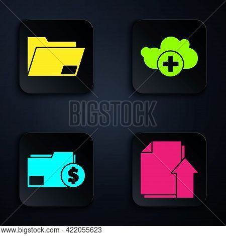 Set Upload File Document, Document Folder, Finance Document Folder And Add Cloud. Black Square Butto