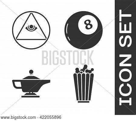 Set Popcorn In Box, Masons, Magic Lamp Or Aladdin And Magic Ball Of Predictions Icon. Vector