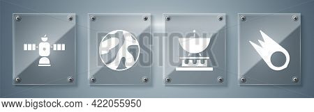 Set Comet Falling Down Fast, Satellite Dish, Planet And Satellite. Square Glass Panels. Vector