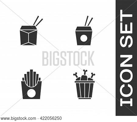 Set Chicken Leg In Package Box, Asian Noodles And Chopsticks, Potatoes French Fries And Icon. Vector