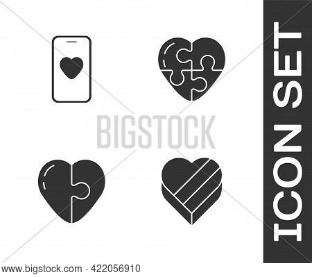 Set Candy In Heart Shaped Box, Online Dating App Chat, Heart And Icon. Vector