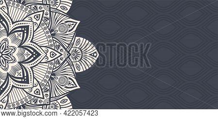 Horizontal Mandala Banner. Decorative Flower Mandala Background With Place For Text. Beige Mandala O