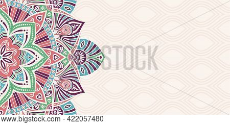 Horizontal Mandala Banner. Decorative Flower Mandala Background With Place For Text. Colorful Abstra