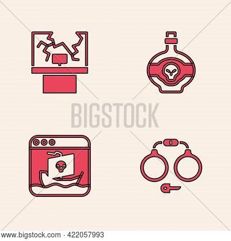 Set Handcuffs, Broken Window, Poison Bottle And Internet Piracy Icon. Vector