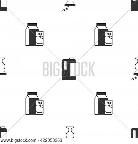 Set Milkshake, In Plastic Bottle And Paper Package For Kefir On Seamless Pattern. Vector