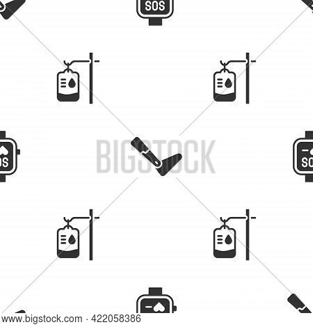 Set Smart Watch, Prosthesis Leg And Iv Bag On Seamless Pattern. Vector