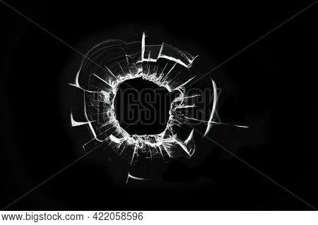 Shot Hole, Illustration Of Broken Glass, Cracked Window, Abstraction Of Cracked Broken Glass Texture