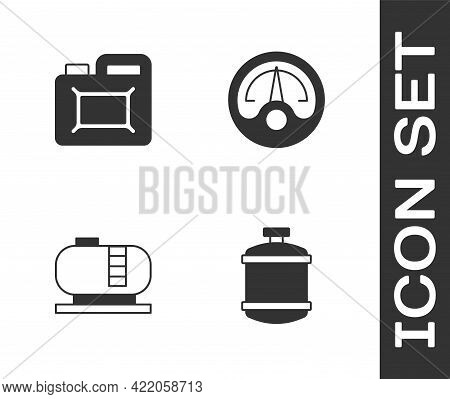 Set Propane Gas Tank, Canister For Motor Oil, Oil Storage And Motor Gauge Icon. Vector