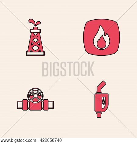 Set Gasoline Pump Nozzle, Oil Rig, Fire Flame And Metallic Pipes And Valve Icon. Vector