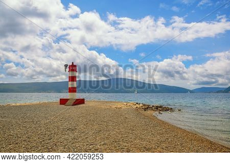 Beautiful Spring Mediterranean Landscape.  Montenegro,  Adriatic Sea. Coast Of Bay Of Kotor Near Tiv
