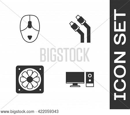 Set Computer Monitor, Mouse, Cooler And Lan Cable Network Internet Icon. Vector