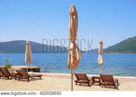 Beautiful Mediterranean Landscape. Summer Beach Vacations, Sunny Day At The Beach.  Montenegro, Adri