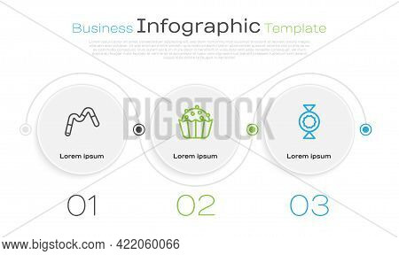 Set Line Jelly Worms Candy, Cupcake And Candy. Business Infographic Template. Vector