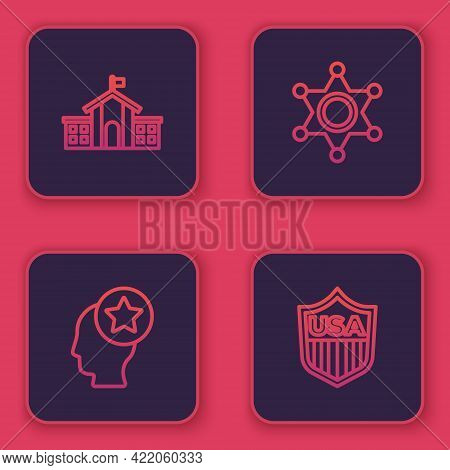 Set Line United States Capitol Congress, Usa Head, Hexagram Sheriff And Shield With Stars. Blue Squa