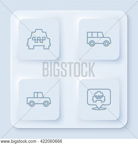 Set Line Taxi Car, Car, And Location With Taxi. White Square Button. Vector