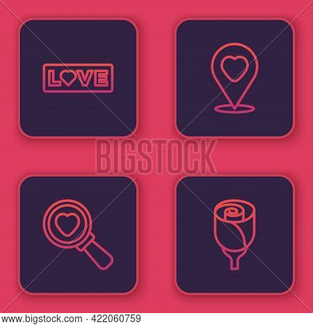 Set Line Love Text, Search Heart And Love, Location With And Flower Rose. Blue Square Button. Vector