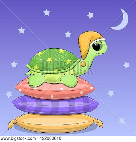 A Cute Cartoon Turtle In A Nightcap Is About To Sleep On Pillows. Night Vector Illustration On Blue