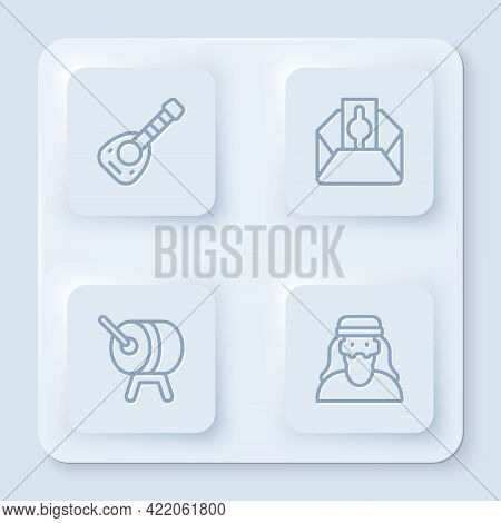 Set Line Lute, Donate Or Pay Your Zakat, Ramadan Drum And Muslim Man. White Square Button. Vector