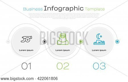 Set Line Ramadan Cannon, Muslim Woman In Niqab And Prays. Business Infographic Template. Vector