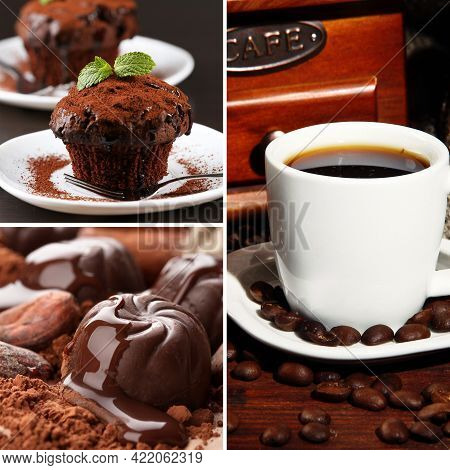 Coffee And Chocolate, Tasty Collage, Coffee And Chocolate, Tasty Collage, Coffee Cup. Coffee Cup On