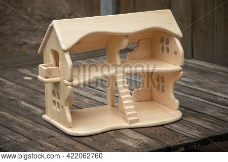 Wooden Handcrafted Two-story Doll House. Waldorf Handmade Play Thing For Kids. Natural Material Toys