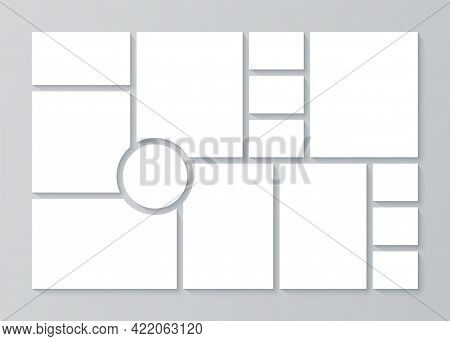 Photo Collage Template. Moodboard. Vector. Pictures Grid. Blank Moodboard Background. Mosaic Frames.