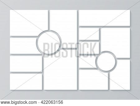 Collage Grid. Moodboard Template. Vector. Blank Mood Boards. Mosaic Photo Frames. Pictures Montage.