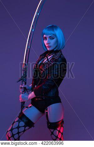 Combative Cyberpunk Woman With Sword Indoors Studio