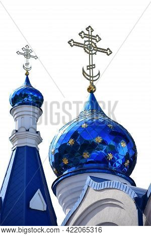 On A White Background, Under Clipping, Two Domes Of A Christian Church In Blue, Of Different Sizes,