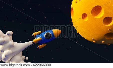 Rocket To The Moon Concept 3d Illustration