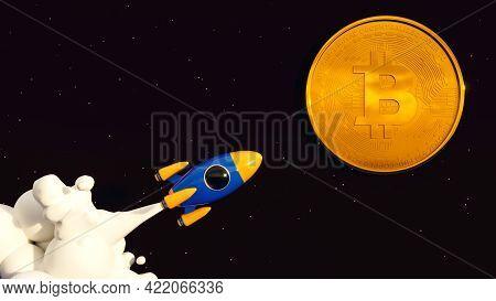 Bitcoin To The Moon. Crypto Rocket 3d Illustration