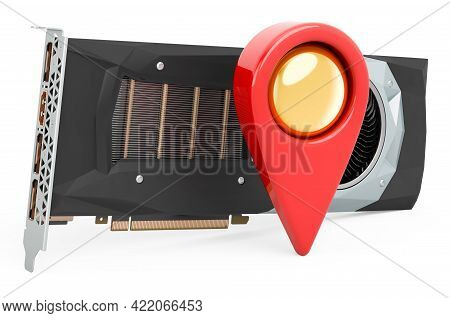 Map Pointer With Video Card, Gpu. 3d Rendering Isolated On White Background