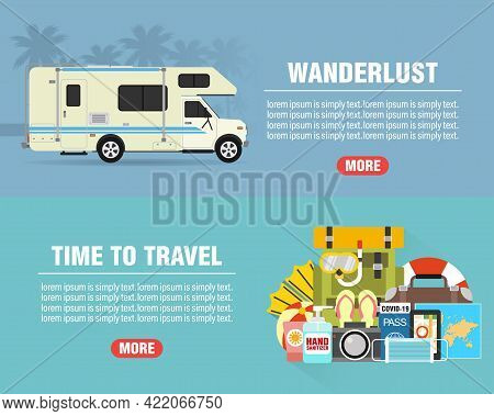 Summer Wanderlust Concept Design Flat Banners Set With Camper, Trailer. Time To Travel. Travel Icon.