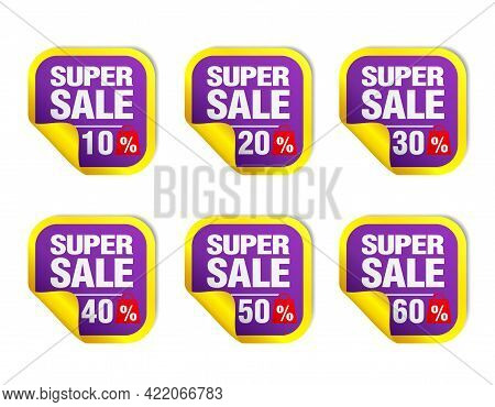 Violet Sale Stickers Set. Sale 10%, 20%, 30%, 40%, 50%, 60% Off With Package Icon. Vector Illustrati