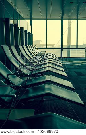 Empty Waiting Room At Aiport Waiting For Passangers.