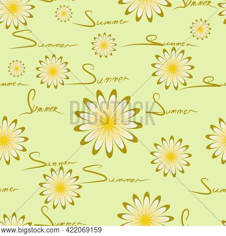 Seamless Pattern With The Image Of Daisies And The Words