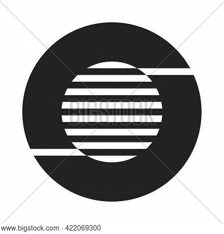 Abstract Contrast Monochrome Lines And Circles. Minimal Style Logo Design. Vector Template For Your