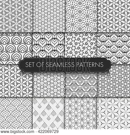 Seamless Linear Vector White Tile Texture. Repeat Ornament Graphic Black Repeat Pattern. Seamless Wh