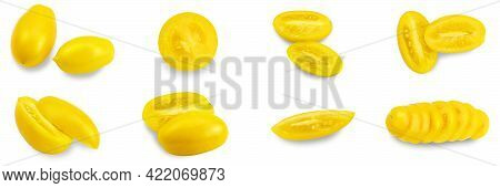 Yellow Tomato Elongated Shape On A White Background. Tomato Variety Golden Lemon Or Akmore Treasure.