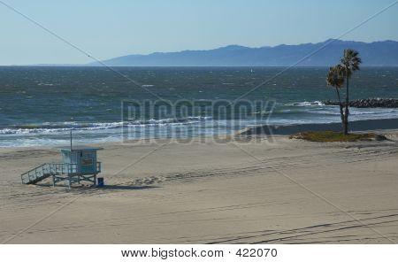 Shoreline Of An Empty Beach