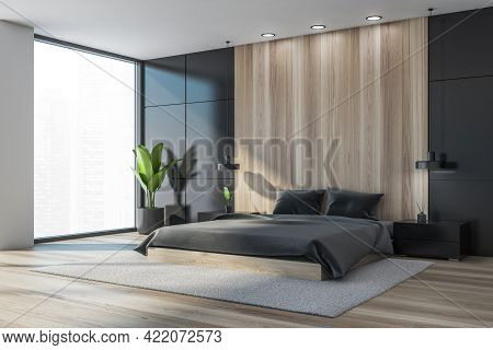 Dark Bedroom Interior With Bed And Pillows, Parquet Floor And Plant, Side View. Mockup Copy Space In