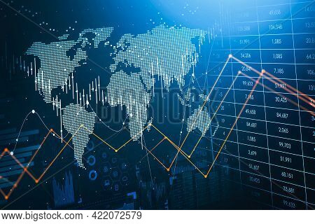 Immersive Hud Financial Interface Picturing Graphs And Stock Market Trends In Changing World Economy