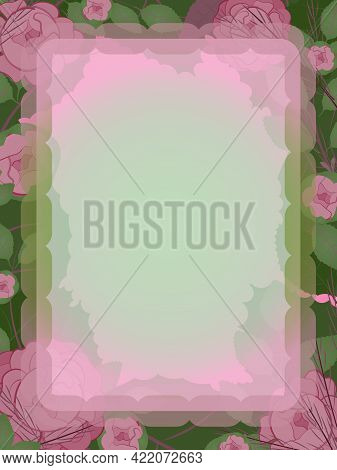 Vertical Floral Frame With Roses. Gentle And Romantic Letterhead.