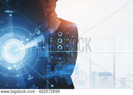 Office Man In Black Suit Thinking, Hud Of Earth Sphere With Data Information, Candlesticks And Secur